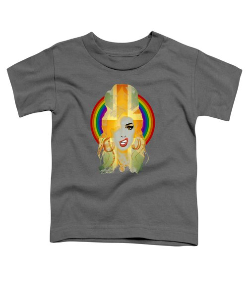 Lioness - Fierce Rainbow - Amy Winehouse Portrait Toddler T-Shirt by Big Fat Arts