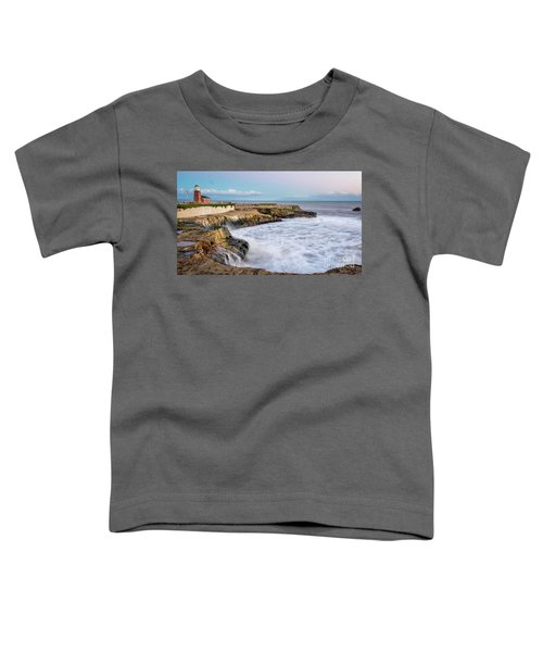 Long Exposure Of Waves Against The Cliff With Lighthouse In Shot Toddler T-Shirt