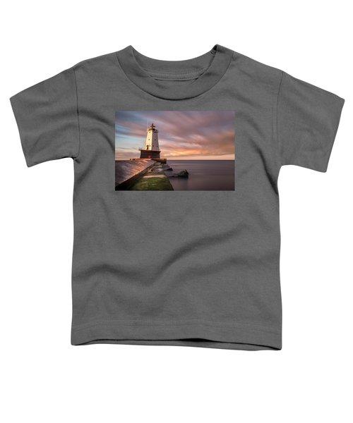 Toddler T-Shirt featuring the photograph Ludington Light Sunrise Long Exposure by Adam Romanowicz