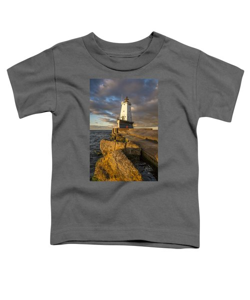 Toddler T-Shirt featuring the photograph Ludington North Breakwater Lighthouse At Sunrise by Adam Romanowicz