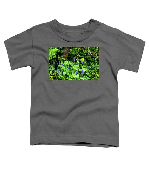 Lush Purple Flowers In The Woods Toddler T-Shirt