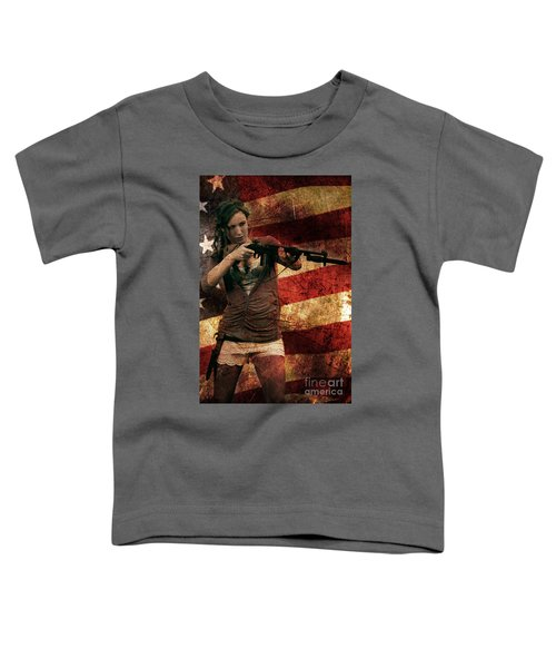M1 Carbine On American Flag Toddler T-Shirt