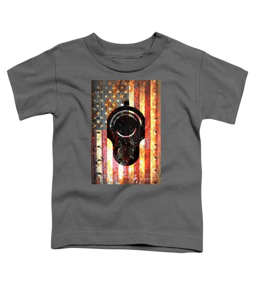 M1911 Colt 45 On Rusted American Flag Toddler T-Shirt