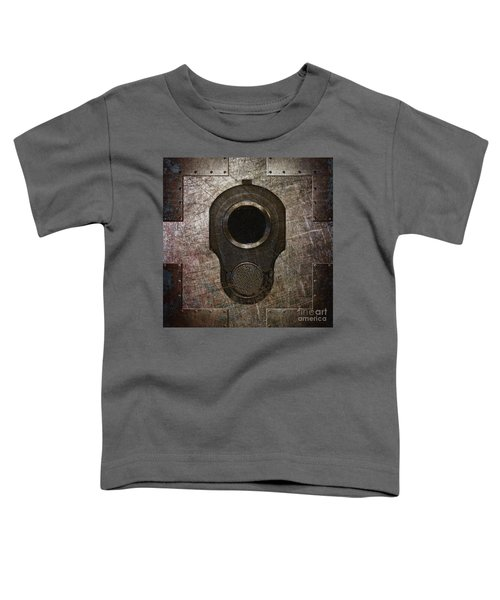 M1911 Muzzle On Rusted Riveted Metal Dark Toddler T-Shirt