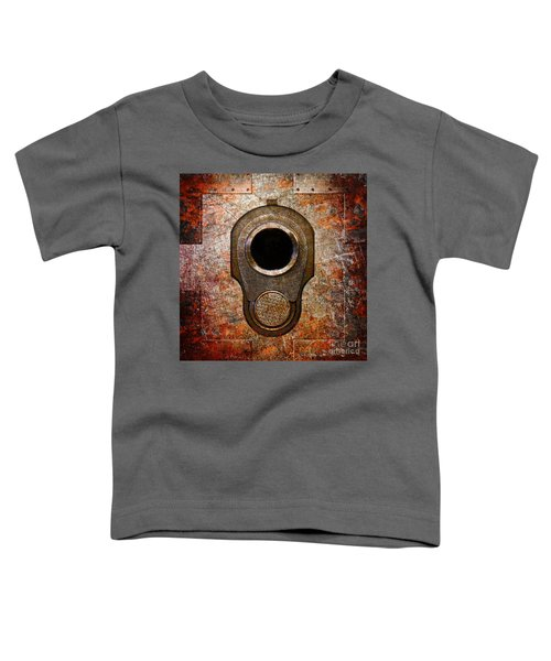 M1911 Muzzle On Rusted Riveted Metal Toddler T-Shirt