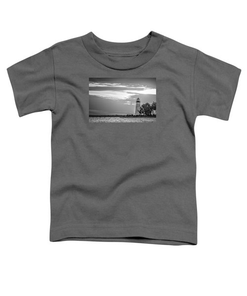 Madisonville Lighthouse In Black-and-white Toddler T-Shirt