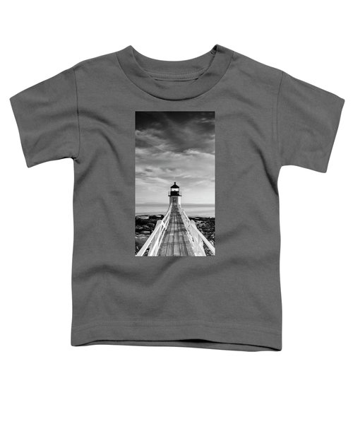 Maine Marshall Point Lighthouse Vertical Panorama In Black And White Toddler T-Shirt