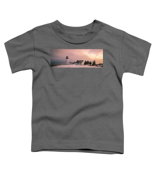 Maine Pemaquid Lighthouse After Winter Snow Storm Toddler T-Shirt