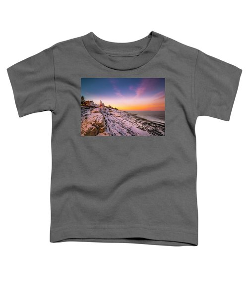 Maine Pemaquid Lighthouse In Winter Snow Toddler T-Shirt