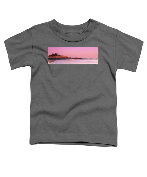 Maine Sheepscot River Bay With Cuckolds Lighthouse Sunset Panorama Toddler T-Shirt