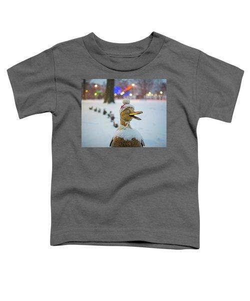 Make Way For Ducklings Winter Hats Boston Public Garden Christmas Toddler T-Shirt