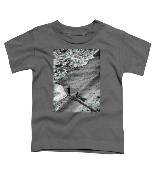Man And Dog On The Beach Toddler T-Shirt