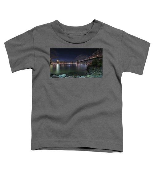 Manhattan Bridge Twinkles At Night Toddler T-Shirt