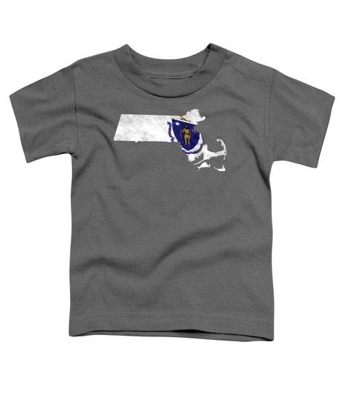 Massachusetts Map Art With Flag Design Toddler T-Shirt