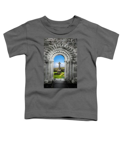 Toddler T-Shirt featuring the photograph Medieval Arch And High Cross, County Clare, Ireland by James Truett