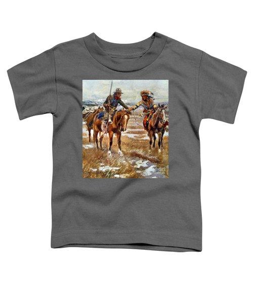 Men Shaking Hands On Horseback Toddler T-Shirt