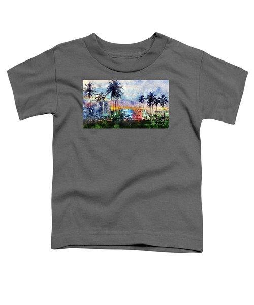 Miami Beach Watercolor Toddler T-Shirt by Jon Neidert