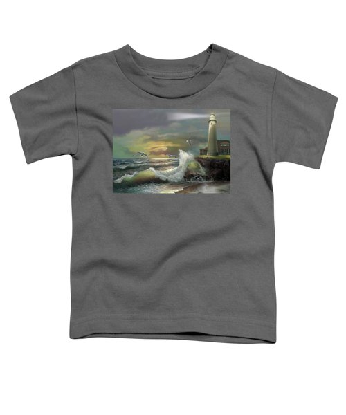 Michigan Seul Choix Point Lighthouse With An Angry Sea Toddler T-Shirt