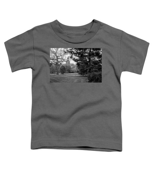 Michigan State University Campus Black And White  Toddler T-Shirt by John McGraw