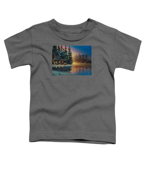 Toddler T-Shirt featuring the painting Misty Refection by Al Hogue
