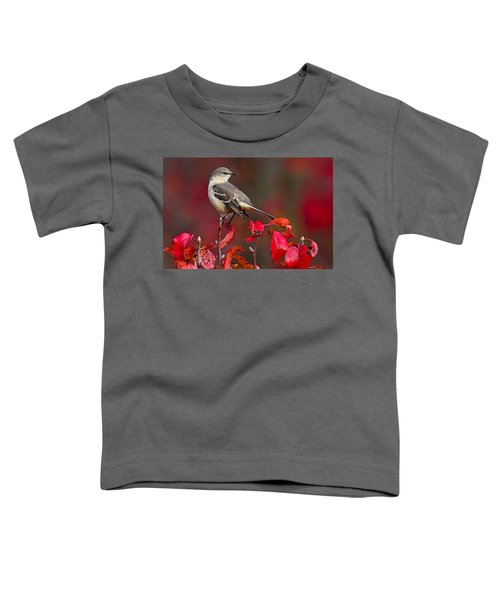 Mockingbird On Red Toddler T-Shirt by William Jobes
