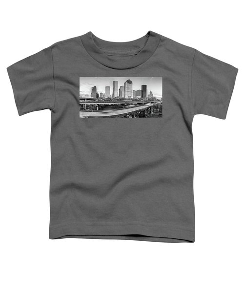Monochrome Panorama Of Downtown Houston Skyline From Buffalo Bayou Park - Harris County Houston Texa Toddler T-Shirt