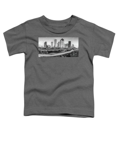 Monochrome Panorama Of Downtown Houston Skyline From Buffalo Bayou Park - Harris County Houston Texa Toddler T-Shirt