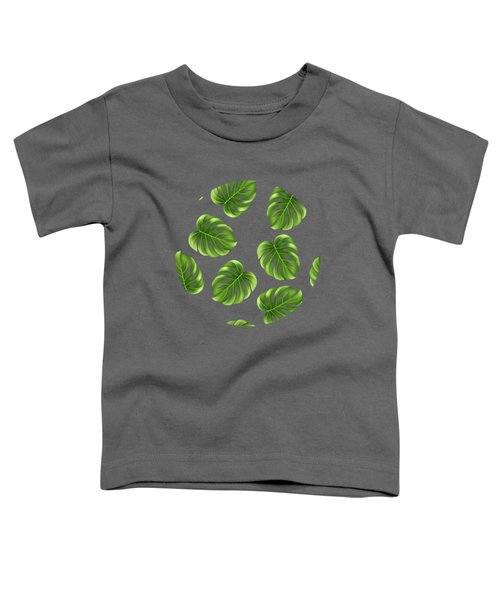 Monstera Leaves Greenery Tropical Aloha Bohemian Decor Toddler T-Shirt