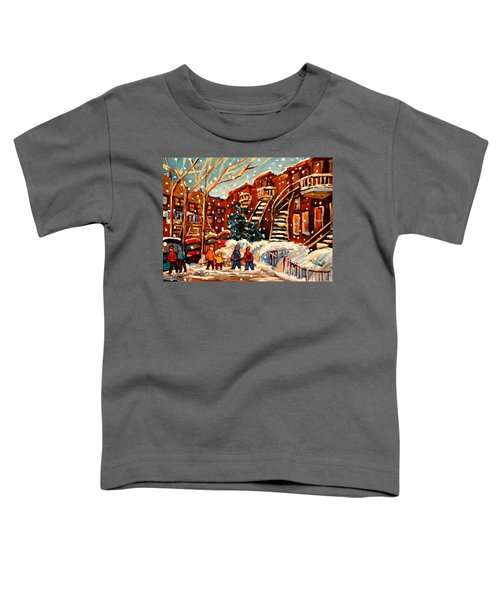 Montreal Street In Winter Toddler T-Shirt
