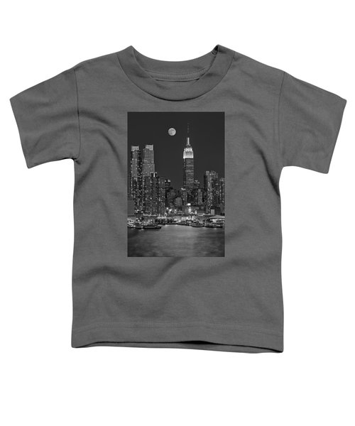 Moonrise Along The Empire State Building Bw  Toddler T-Shirt