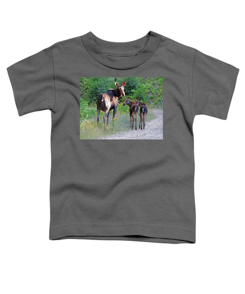 Moose Mom And Babies Toddler T-Shirt