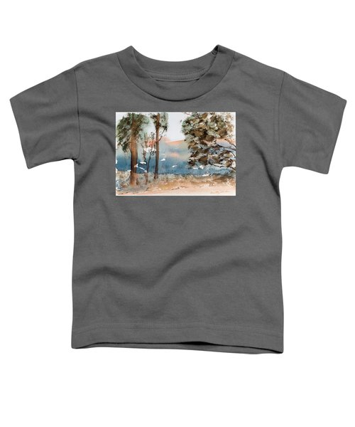 Mt Field Gum Tree Silhouettes Against Salmon Coloured Mountains Toddler T-Shirt