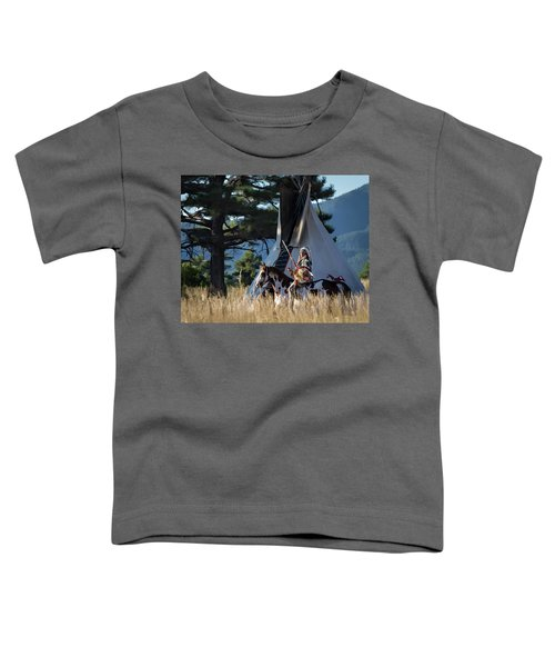 Native American In Full Headdress In Front Of Teepee Toddler T-Shirt