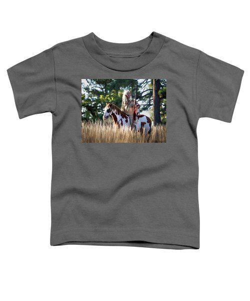 Native American In Full Headdress On A Paint Horse Toddler T-Shirt