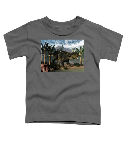 Nedoceratops Roaring While Running - 3d Render Toddler T-Shirt