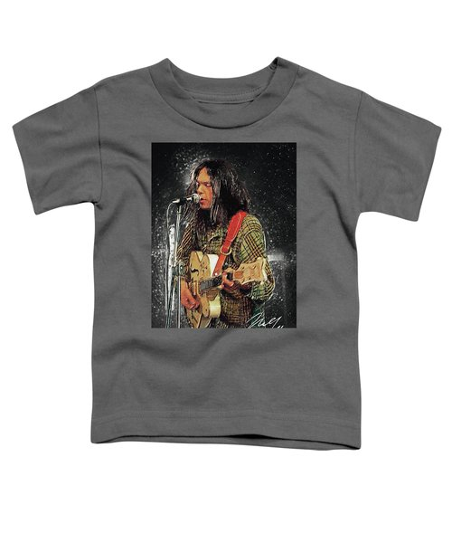 Neil Young Toddler T-Shirt by Taylan Apukovska