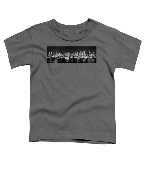 New York City Nyc Skyline Midtown Manhattan At Night Black And White Toddler T-Shirt