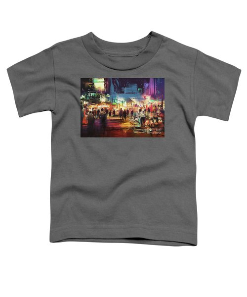 Toddler T-Shirt featuring the painting Night Market by Tithi Luadthong