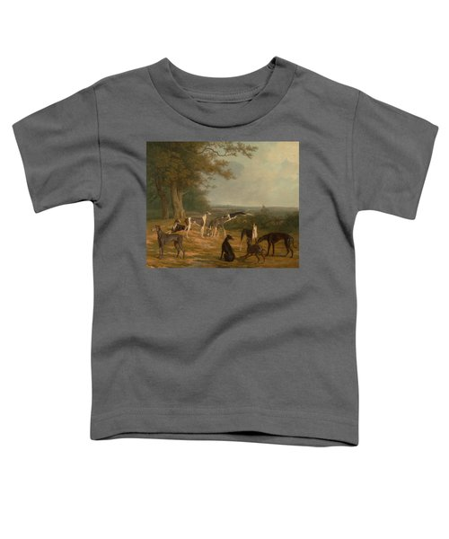 Toddler T-Shirt featuring the painting Nine Greyhounds In A Landscape by Celestial Images