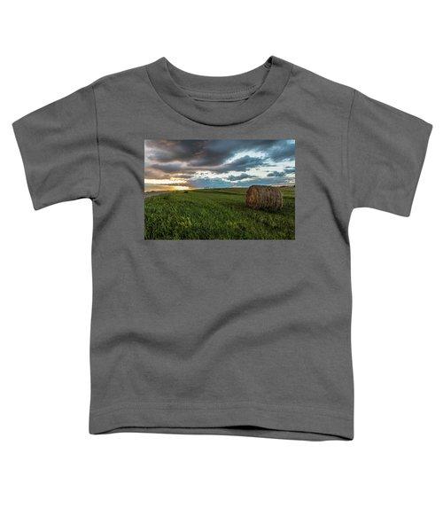 North Dakota Sunset With Hay Toddler T-Shirt