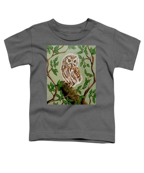 Northern Saw-whet Owl Toddler T-Shirt by Teresa Wing