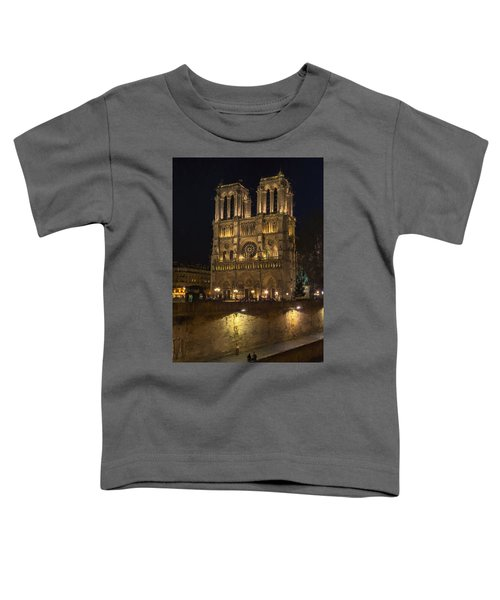 Notre Dame Night Painterly Toddler T-Shirt