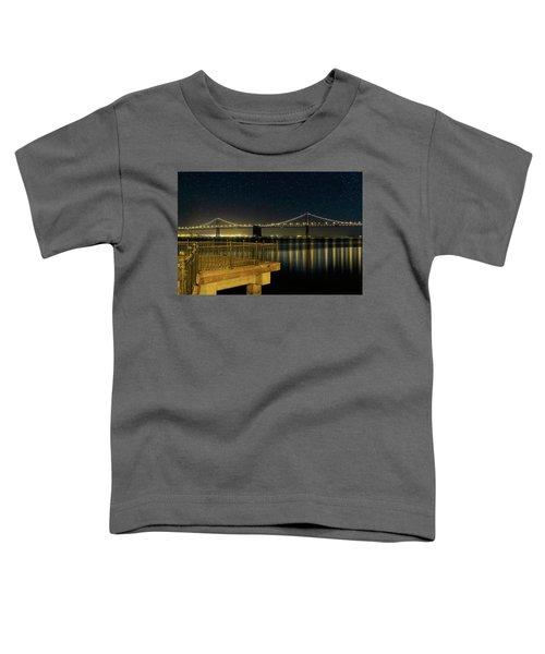 Oakland Bay Bridge By The Pier In San Francisco At Night Toddler T-Shirt