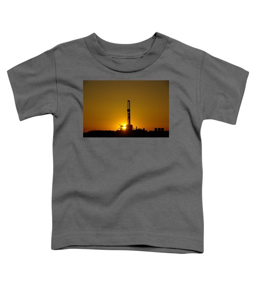 Oil Rig Near Killdeer In The Morn Toddler T-Shirt by Jeff Swan