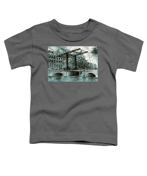 Old Amsterdam Bridge In Dutch Blue Water Colors Toddler T-Shirt