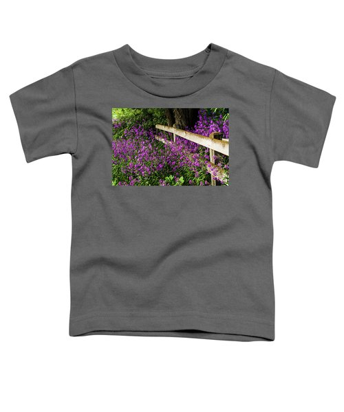 Old Fence And Purple Flowers Toddler T-Shirt