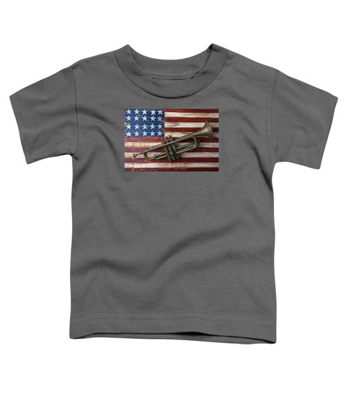 Old Trumpet On American Flag Toddler T-Shirt