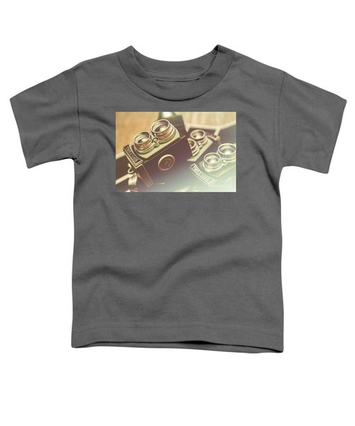Old Vintage Faded Print Of Camera Equipment Toddler T-Shirt