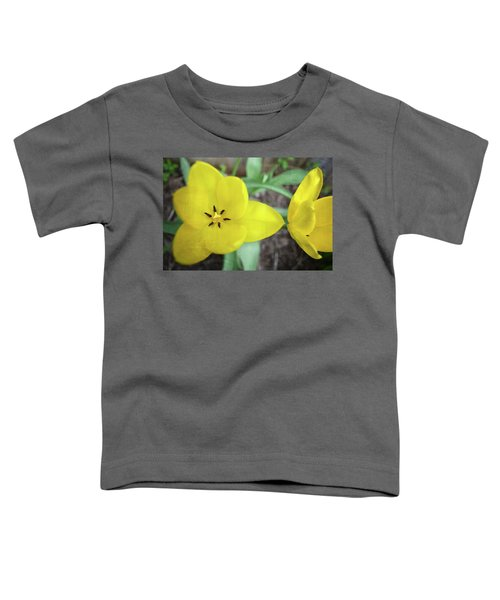 One And A Half Yellow Tulips Toddler T-Shirt by Michelle Calkins