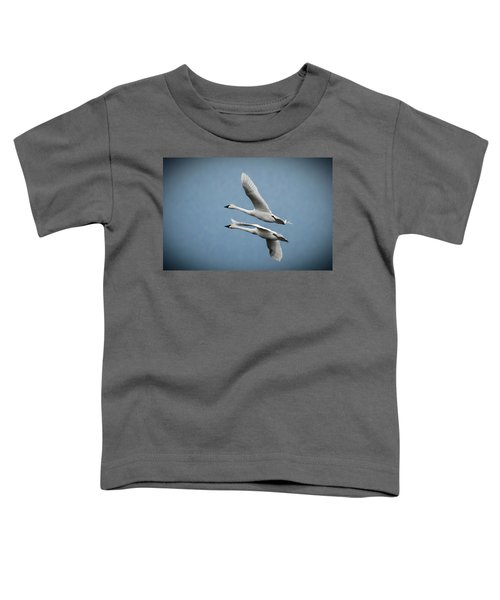 Toddler T-Shirt featuring the photograph Pair Of Tundra Swan by Donald Brown